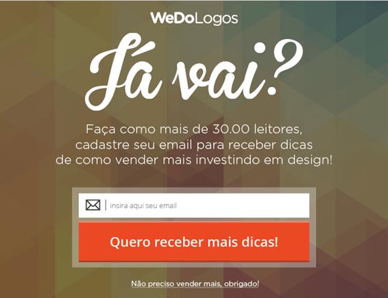 Exemplo de ação em tempo real: modal de intenção de saída da WeDoLogos