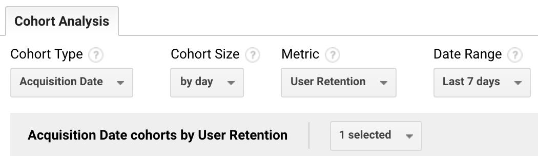 Opções de configuração de cohorts no Google Analytics